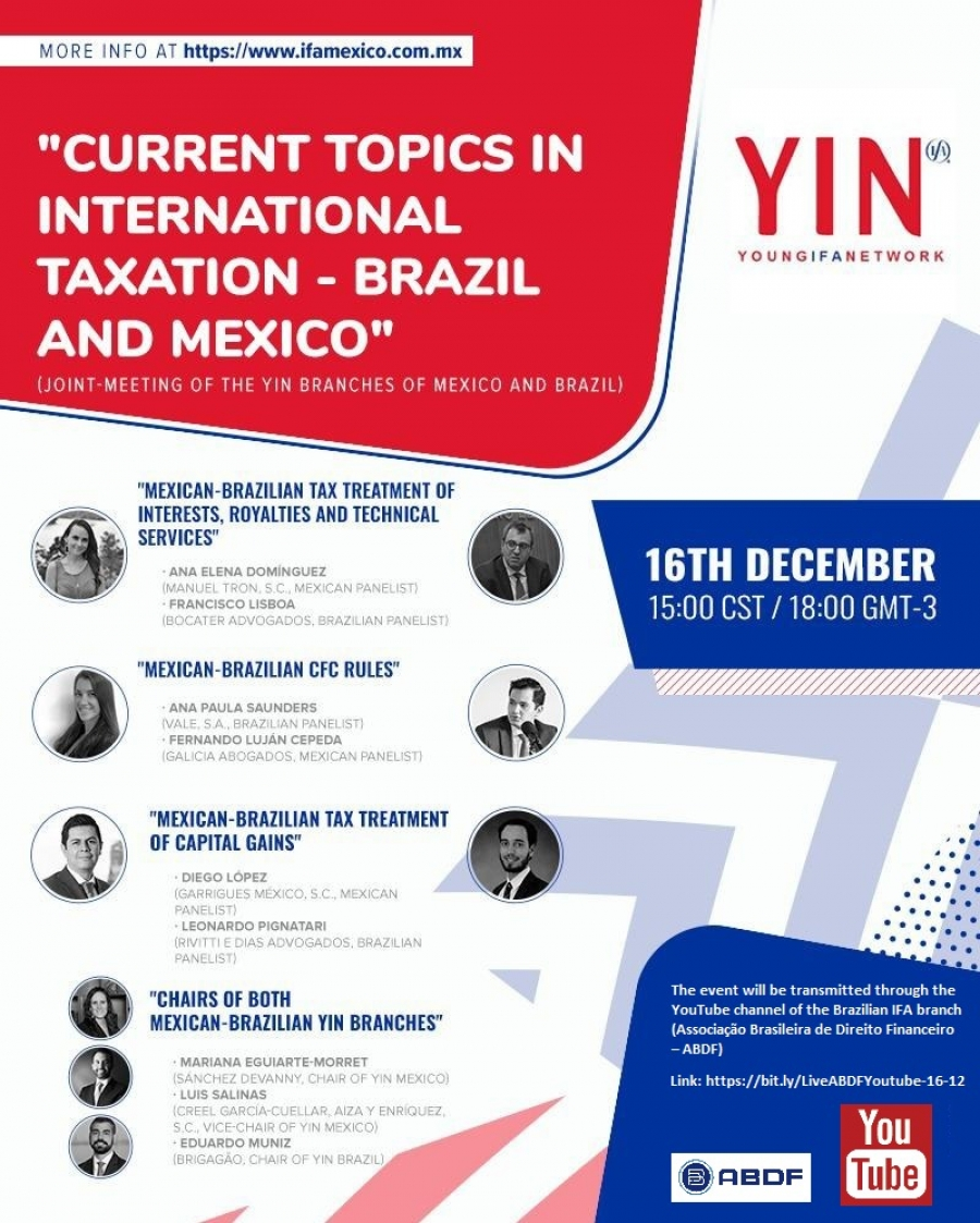 "[YIN] - ""Currents Topics in International Taxation - Brazil and Mexico"""